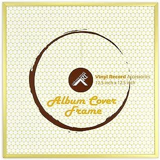 Golden State Art, 12.5x12.5 inches Aluminum Vinyl Record Album Cover Frame, Gold Color
