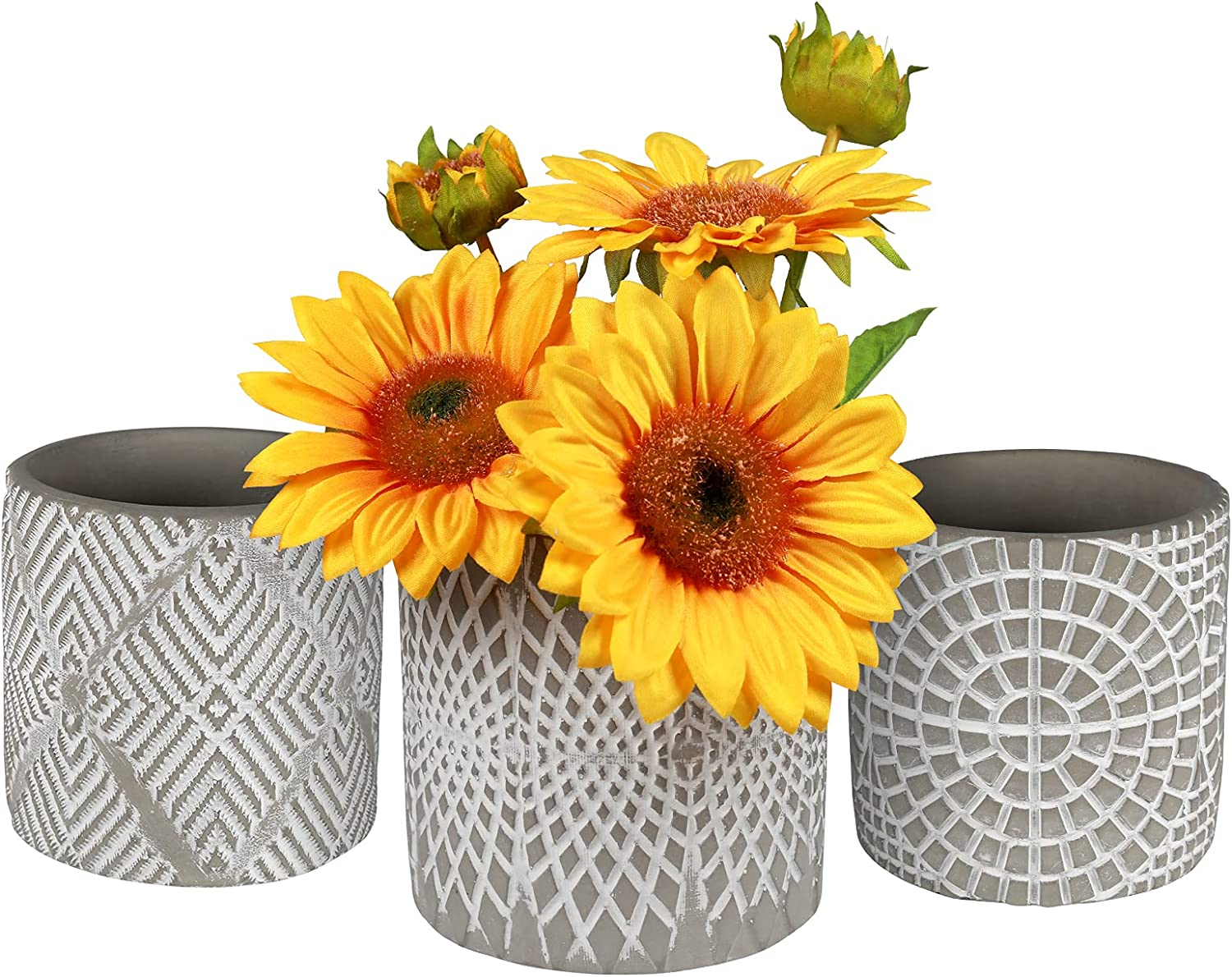 SOPHSEAG Cement Succulent Pots - 4 inch Small Concrete Flower Pot Cactus Planters Container, 3 Pack Modern Plant Vase with Drainage Hole for Indoor Outdoor Planting and Decor
