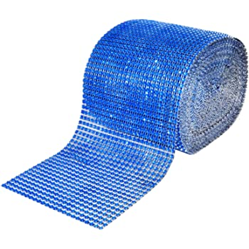"4.75/"" x 1 3 5 YD Royal Blue Rhinestone Diamond Mesh Wrap 24 Row Sparkle Crystal"