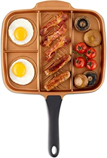 """VonShef Grill Pan Non Stick Aluminum, Easy Clean Griddle With Copper Colored Interior and Stainless Steel Handle, Induction Hob Ready, 11 Inches Diameter (11"""" Diameter (4-in1 Divided Pan))"""