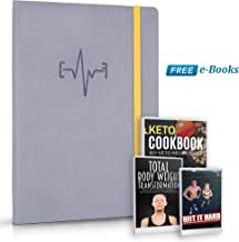 Fitness Planner Undated 144Days Pages, Pu Leather Plus Two Ebooks, Exercise Tracking, Meal Planning, Body Measurements, Goals Setting, Easy to Write and Taking Notes, Wellness Diary, Upgraded Version