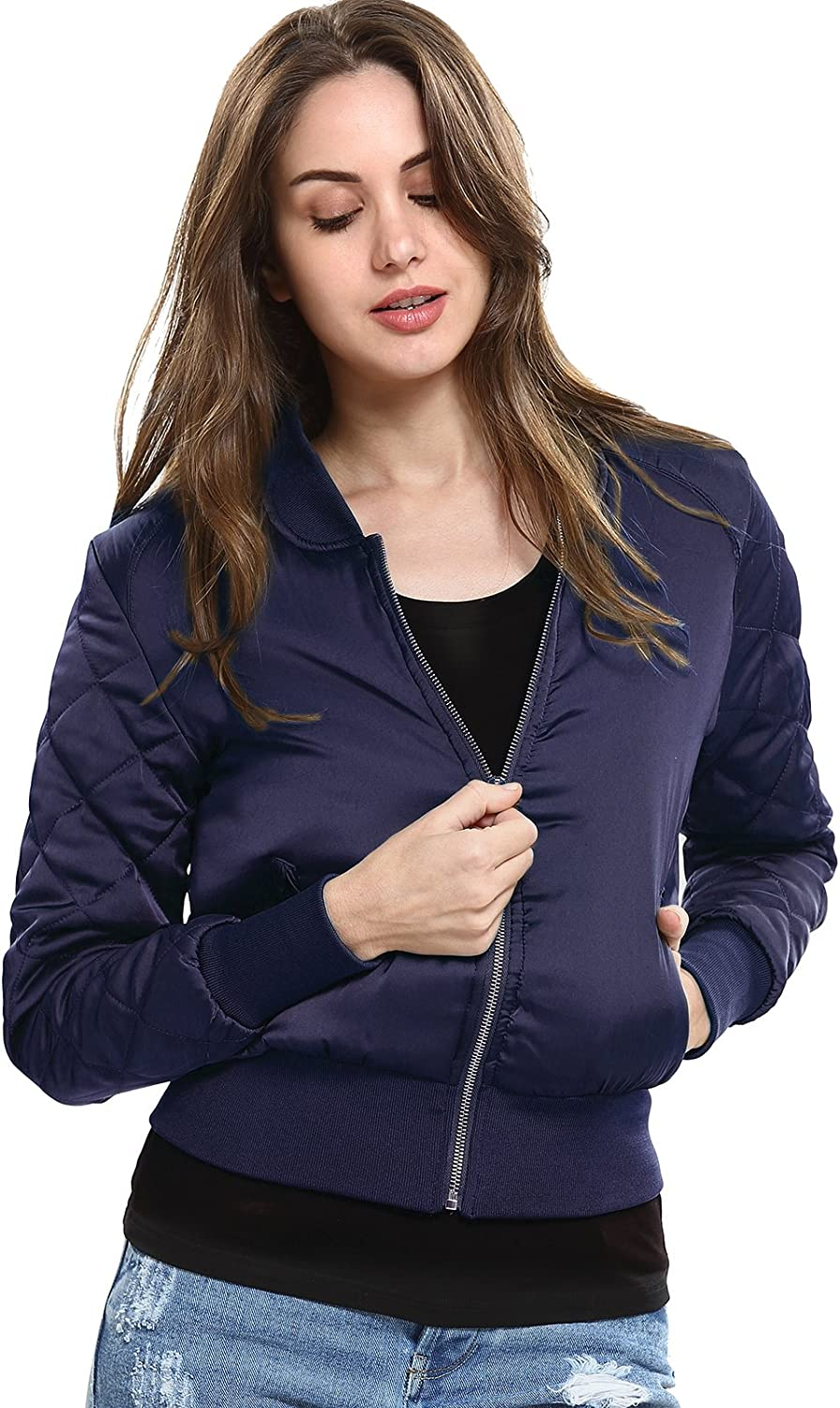 Women's Short ZipUp Quilted Padded Bike Coat Bomber Jacket Outerwear