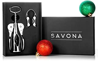 Elegant Wine Opener Set by Savona | Winged Corkscrew w/Foil Cutter | Professional Wine Cork Remover for Home, Bars & Restaurants | The Perfect Wine Gift Set for Any Wine Lover