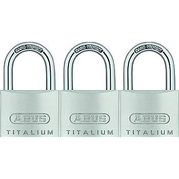ABUS 64TI//40 Triples B//SB Titalium-Vorhangschloss Set 3-St/ück mit 4 Schl/üsseln