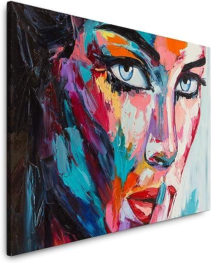 Paul Sinus Art Frau in bunt 60 x 90 cm Inspirierende Fotokunst in Museums-Qualität für Ihr Zuhause als Wandbild auf Leinwand in