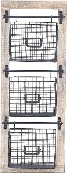 Deco 79 58644 Basket Wall Rack Black Brown