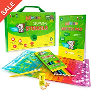 Mimtom Drawing Stencils for Kids | 51 PC Arts & Crafts Stencil Kit with Over 290 Inspirational Shapes for Many Hours of Fun and Creativity | Kid-Safe Educational Activity Toy for Boys & Girls Ages 3+