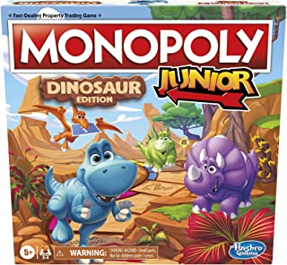 Hasbro Gaming Monopoly Junior: Dinosaur Edition Board Game for 2-4 Players, Fun Indoor Games for Kids Ages 5 and Up, Dinos...