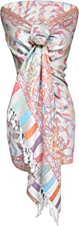 Peach Couture Vibrant Multicolored Colorful Rainbow Pastel Paisley Floral Fringe Pashmina Wrap Shawl (Lavender/White)