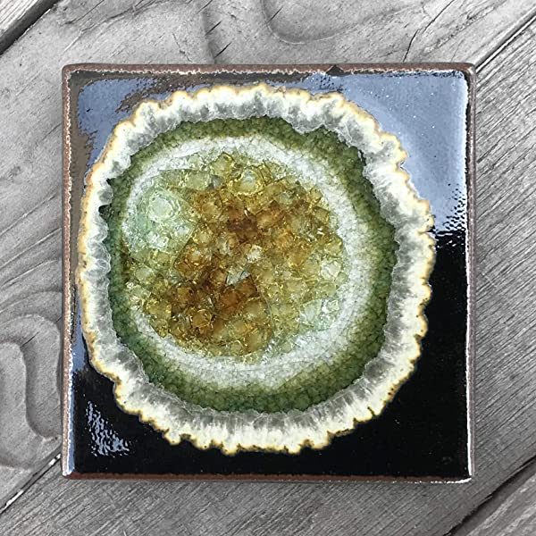 Geode Crackle Coaster In Black Individual Coaster Geode Coaster Agate Coaster Fused Glass Coaster Crackle Glass Coaster Dock 6 Pottery Coaster Dock 6 Pottery Kerry Brooks Pottery