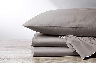 Coyuchi 300 Thread Count 100% Organic Sateen Sheet Set, GOTS Certified Full, Pale Gray