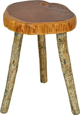 Maruti Exports Live Edge Round Top Stool (Brown)