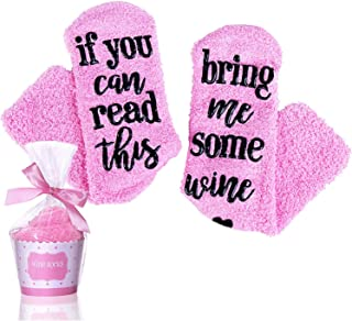 Wine Socks with Cupcake Gift Packaging, Perfect Gift for Women and Girl - If You Can Read This Bring Me Some Wine Socks(Pink)