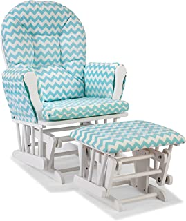 Storkcraft Custom Hoop Glider and Ottoman, White/Turquoise Chevron