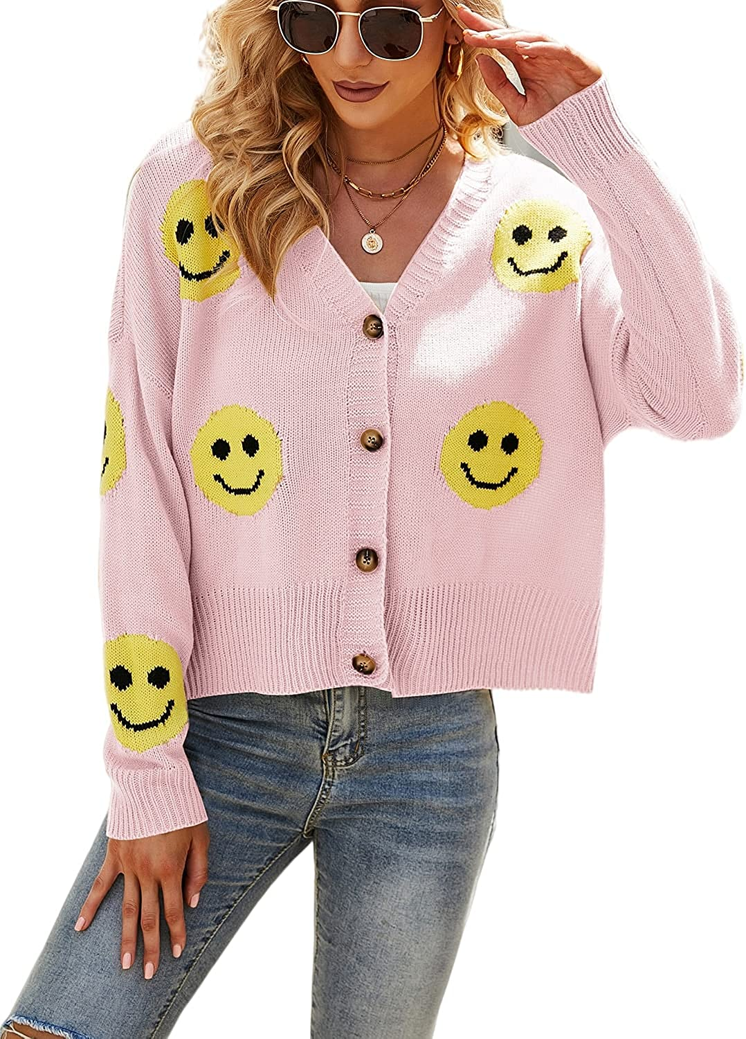 Eteviolet Y2K Flower Pattern Knitted Sweater for Women V-Neck Button Down Loose Knit Cardigan Sweater