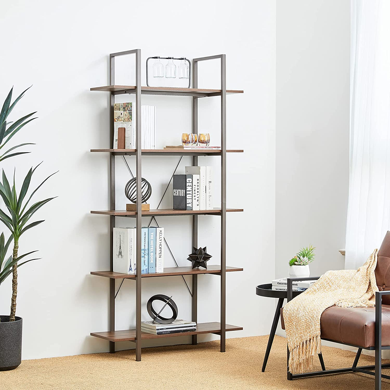 Glitzhome 5-Tier Industrial 5☆大好評 Bookcase 大人気 Rustic Wood Tall Metal and