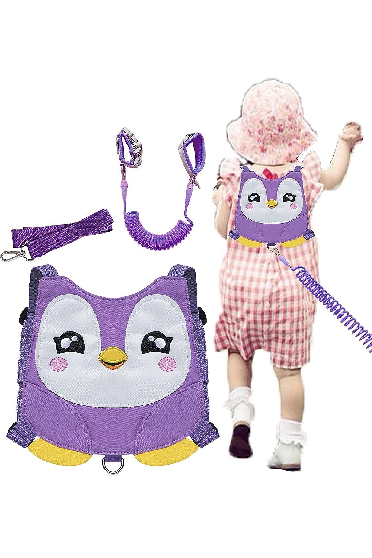 Penguin Toddler Harness with Leash Kid Anti-Lost Wrist Link Leash Kids Wristband (Purple)