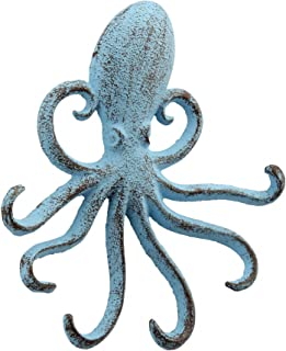 Stonebriar Cast Iron Octopus Decorative Wall Hook, Unique Ocean Design, Blue