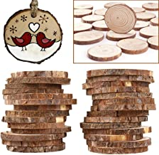 Wooden Discs (Pack of 50) 3-5 cm Unfinished Wood Slices with 3 mm Threading Hole - Rustic Wood Logs with Bark and Smooth Finish – 3-5 mm Thickness Depth - Wooden Rounds for Crafts and Decorations