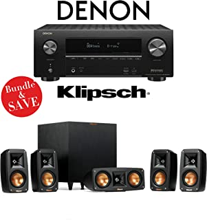 Denon AVR-X2500H 7.2-Channel 4K Ultra HD Networking AV Receiver with Klipsch Reference Theater Pack 5.1 Surround Sound System