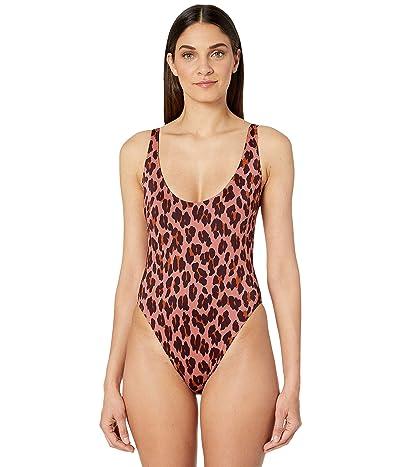 Stella McCartney Ballet Leopard Print Scoop Neck One-Piece (Pink Leopard) Women