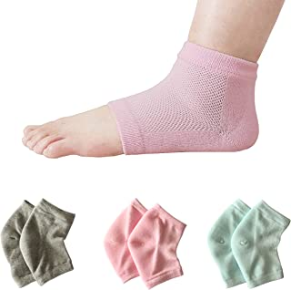 3 pairs Vented Moisturizing Heel Socks, Smeala Day Night Open Care Toed Breathable Recovery Cotton Socks, Silicone Gel to Heal Dry Cracked Heels and Repair Feet (pink,grey,green)