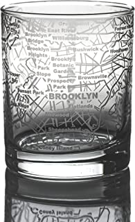 Greenline Goods Whiskey Glasses - 10 Oz Tumbler for Brooklyn Lovers (Single Glass) | Etched with Brooklyn Map | Old Fashioned Rocks Glass