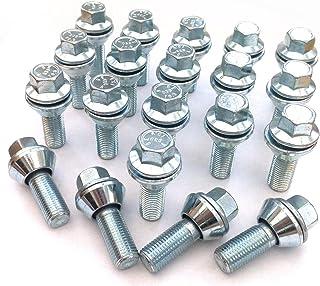 Set mit 20 x Leichtmetallfelgen, M12 x 1,5 (12 mm) Gewinde, 17 mm Sechskant, Wobble Vari Schrauben, variable Variation, PCD 5 x 120, 5 x 118 und 4 x 100, 4 x 98 für BMW (#004)