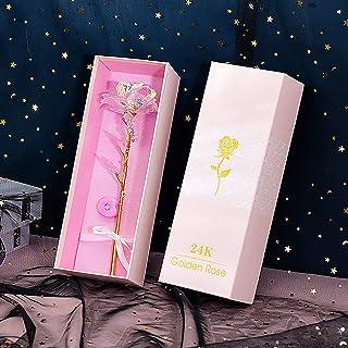Fleur Artificielle pour Toujours Rose, Rose colorée 24K, Cadeau Romantique avec boîte-Cadeau, Cadeau Rose éternelle pour E...