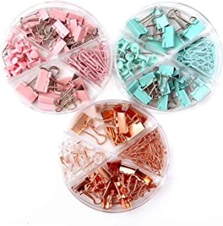 216 PCS Binder Clips Paper Clips Push Pins Set, Practical Desk Organize Kits for Office School Home, 72 Pcs Per Box, 3 Box...
