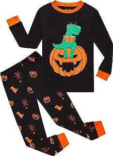 general3 Kids Baby Halloween Pajamas Set Boy Long Sleeve Pumpkin Ghost Print Top Striped Long Pants Sleepwear Outfit