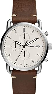Fossil Men's Commuter Stainless Steel and Leather Casual Quartz Watch