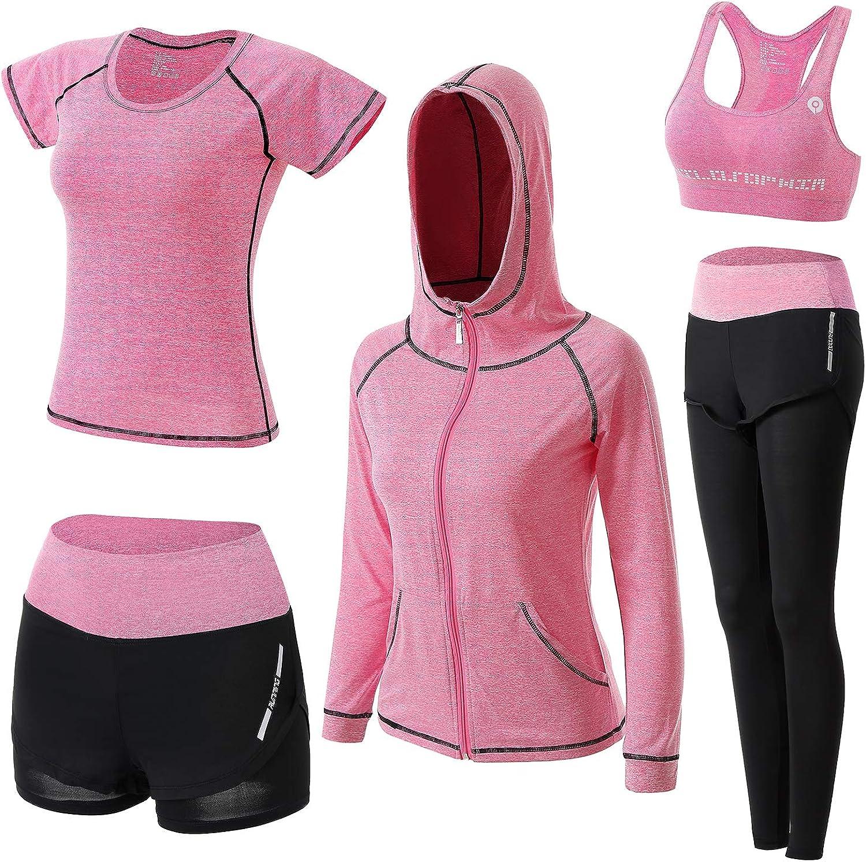 transpirables entrenamiento para deportes ejercicio el/ásticos BOTRE Atuendos de entrenamiento 5 en 1 correr de secado r/ápido yoga
