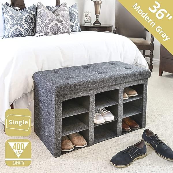 Seville Classics WEB591 9 Bin Foldable Tufted Shoe Storage Ottoman Single Charcoal Gray