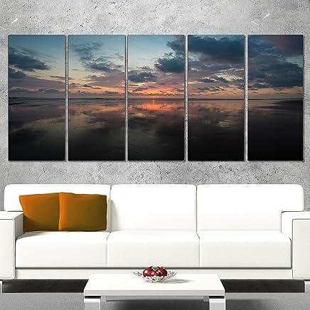 Design Art Mata Palo en Costa Rica Beach Sunset X-Large Seascape, Rojo, 60x28-5 Equal Panels, 1