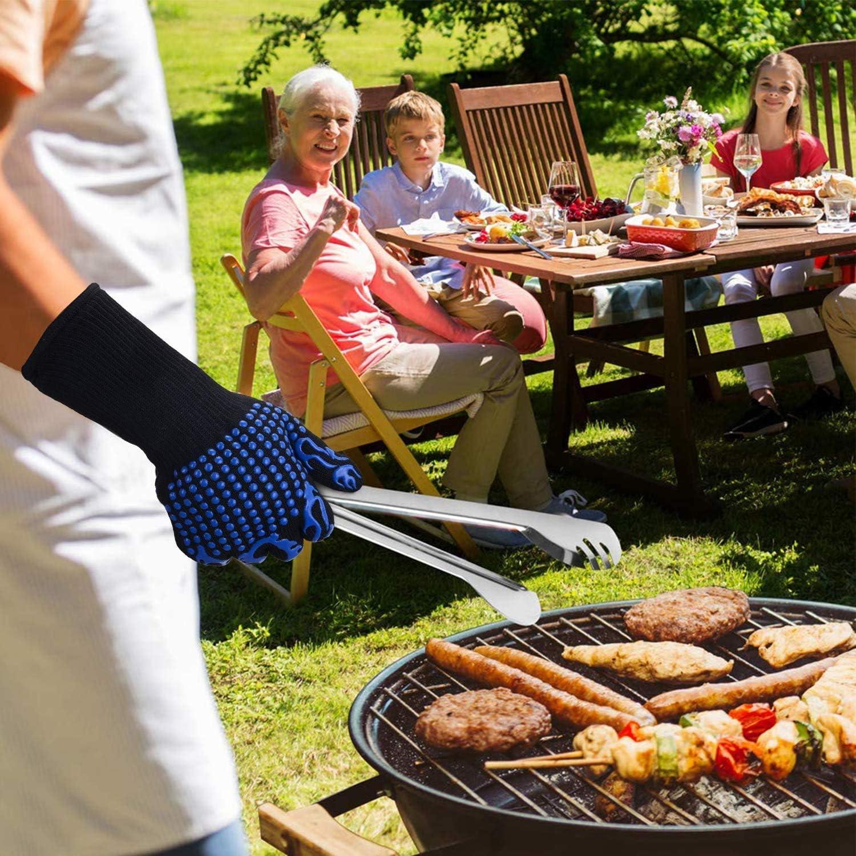 MIAO. Gants pour Barbecue 800 ℃ / 1472 ° F - Extreme Heat Gants résistant - Griller antidérapantes Four Gants avec Doigts - Gants de Cuisine en Plein air, 1 Paire,Noir Blue