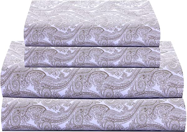 Feather Stitch 300 Thread Count 100 Cotton Sheet Set Soft Percale Weave Queen Sheets Deep Pockets Hotel Collection Luxury Bedding Super Sale 100 Cotton Paisely 01 Queen