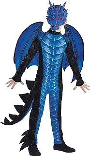 لباس هالووین اژدهای سیاه و آبی Amscan برای پسران ، شامل لباس بلند ، ماسک ، دم و بال ها