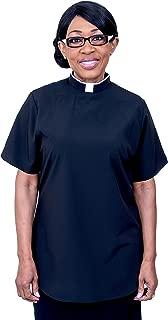 Mercy Robes Ladies Short Sleeves TAB Clergy Blouse (Black)