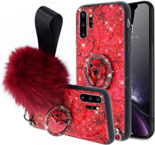 Aulzaju Case for Samsung Note 10 Plus,Note 10 Plus Luxury Bling Marble Stylish Shockproof Hybrid Case Cute Crystal Rhinestone Ring Stand Cover with Soft Furry Ball for Girls Women-Red