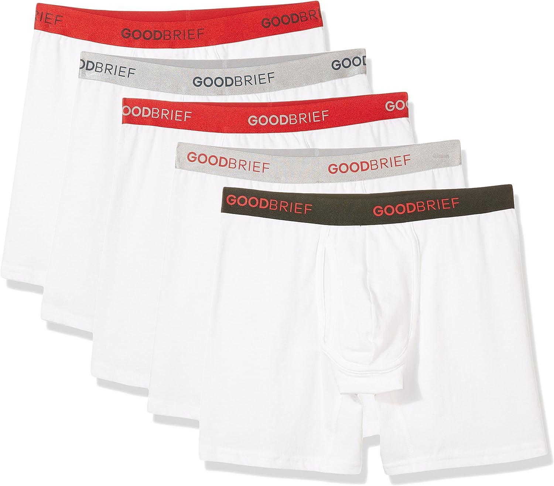 Good Brief Men's 5-Pack Multi Color Band Cotton Stretch Classic Fit Boxer Briefs
