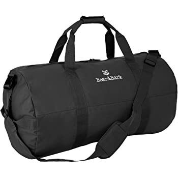 """Medium Duffle Bag – Black 32""""x18"""" - Canvas Military and Army Cargo Style Duffel Tote for Men and Women– Gym, Hiking and Storage Shoulder Bag"""
