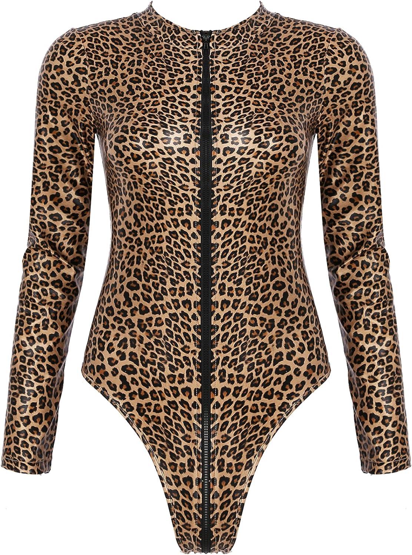 Zbaisen Womens Stretchy Leather Crew Neck Leopard Printed Fashion Bodysuit Tops Shirt Zipper Leotard