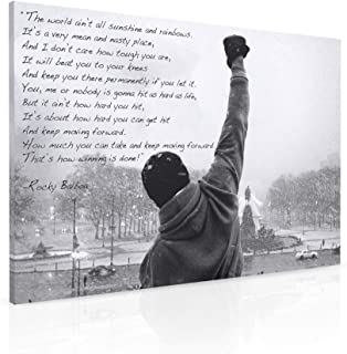 Panther Print Rocky Balboa Canvas Print | Motivational Quote Wall Art – Boxing..