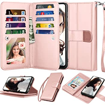 """Njjex Wallet Case For Samsung Galaxy A10E, For 5.8"""" Galaxy A10e Case,[9 Card Slots] PU Leather Credit Holder Folio Flip [Detachable] Kickstand Magnetic Phone Cover & Lanyard For Samsung A10e -RoseGold"""