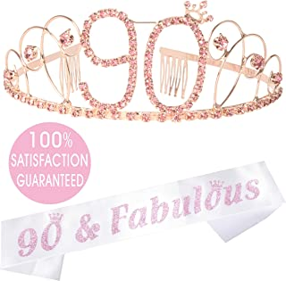 90th Birthday Tiara and Sash Pink, Appy 90th Birthday Party Supplies, 90 and Fabulous Pink White Glitter Satin Sash and Crystal Tiara Birthday Crown for 90th Birthday Party Supplies and Decorations