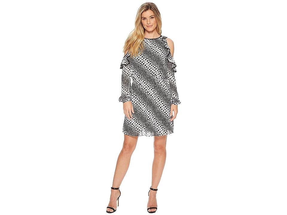 MICHAEL Michael Kors Cold Shoulder Dress (Black/White) Women