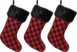 New Traditions Simplify Your Holiday 3-Pack of 20 INCH Black/RED Buffalo Check Christmas Stockings with Black Faux Fur Cuff - Black/RED