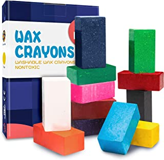 MUSCCCM Wachsmalstifte für Kinder, 12 Farben Wachsmalblöcke Ungiftig Sichere und Waschbar Wachs Buntstifte für Kleinkinder, Babys, Studenten