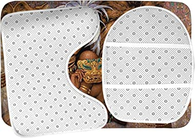 BIAN-63 African Beautiful Woman with Lion Bathroom Rug Mat Bath Accessories Set 3 Piece,Non-Slip Bath Mat Pedestal Rug+U Shaped Contour Mat+Lid Toilet Cover Pad